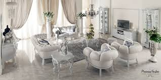 Luxury Furniture Ivory Sitting Room With Impero Style Furniture And Silver Leaf