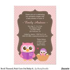 book themed pink cute owl baby shower invitations pink zs and