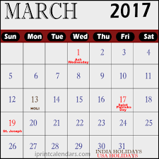 march 2017 calendar with holidays usa federal holidays