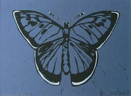 large blue butterfly on blue paper striped pebble linocuts