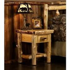 midnight dark aspen log 1 drawer nightstand aspen log nightstand