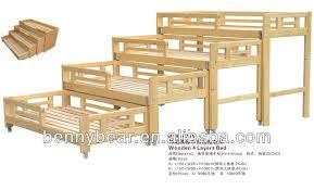 Preschool Furniture Pine Wood Triple Bunk Bed For Kids Buy - Triple bunk bed wooden