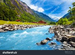 Landscape With Houses by Swiss Landscape River Stream Houses Stock Photo 185911586