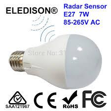 microwave light bulb led microwave radar motion sensor led light bulb 7w e27 70x120mm 85 265v