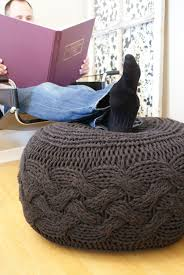 knitting pattern pouffe footstool ottoman super chunky cable