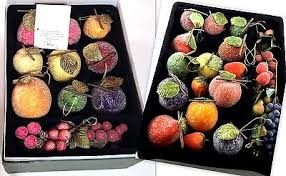 valerie parr hill set of 38 beaded sugared mixed fruit ornaments