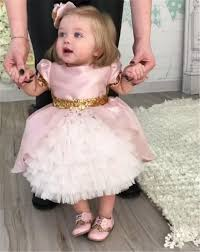 baby girl birthday pink baby birthday gown with sequined bow flower girl