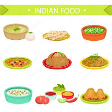 cuisine signature indian food signature dishes illustration set stock vector