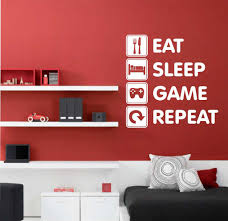 Bedroom Wall Letter Stickers Eat Sleep Game Repeat Vinyl Wall Lettering Video Gamer Decal