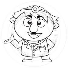 cartoon doctor talking black and white line art by totallypic