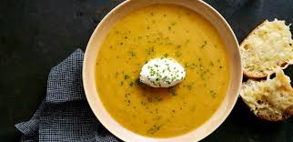 roasted apple and butternut squash soup with mascarpone and