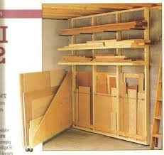 Simple Wood Storage Shelf Plans by Alternative Swing Out Plywood Sheet Storage Shop Ideas