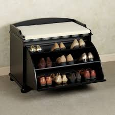 furniture small entryway shoes cabinet with bench in black chic