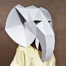 paper halloween mask elephant head mask diy halloween mask paper creation pdf pattern