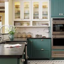 TwoTone Kitchen Cabinets To Reinspire Your Favorite Spot In - Blue painted kitchen cabinets