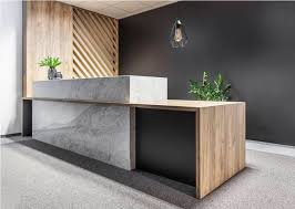 Modern Office Reception Desk Black Accent Wall With Greeny With Marble Decorated Ikea
