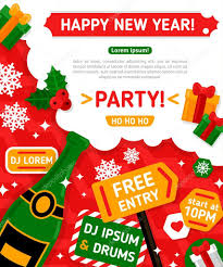 new years party box merry christmas and happy new year party invitation card stock