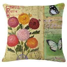 popular retro home decorative pillow buy cheap retro home tropical flower plant butterfly plaid floral decorative pillow covers vintage home decor throw pillow cushion cover