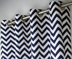 Grommet Chevron Curtains Navy Blue White Chevron Zig Zag Geometric Curtains Grommet