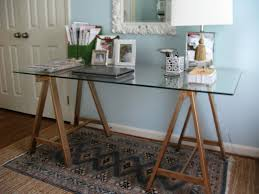 Panels For Ikea Furniture by Furniture Simple Sawhorse Desk With Eight Legs And Wainscoting Panels