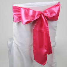pink chair sashes hot pink satin chair sash pack of 10 6 inches x 106
