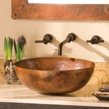 vessel sinks bathroom ideas bathroom copper vessel sinks with towel and faucets plus