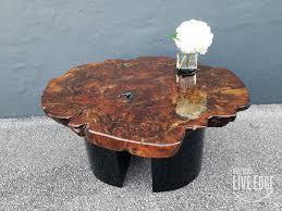 modern live edge coffee table round slab claro walnut burl