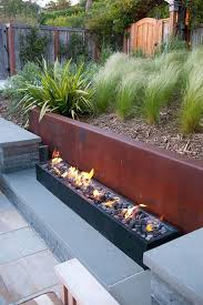 Contemporary Firepit Contemporary Landscape Yard With Exterior Floors Gate