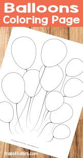 balloons coloring page for kids trail of colors