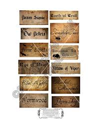 vintage halloween witch potion ingredients labels digital