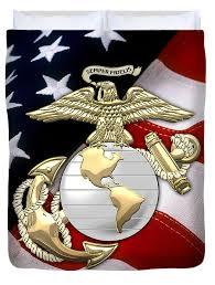 American Flag Duvet U S Marine Corps U S M C Eagle Globe And Anchor Over American