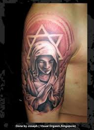 mary with 6 stars a star of david on clouds tattoo