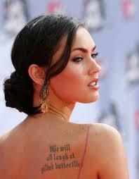 megan fox u0027s shoulder blade lettering tattoo design celebrity