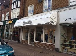 Shop Awnings And Canopies Dutch Canopy With Wet Look Fabric And Sign Writing By Deans Blinds