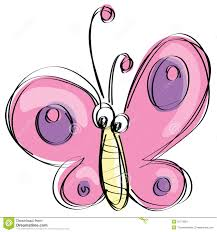 cartoon pink butterfly with funny face as naive children drawing