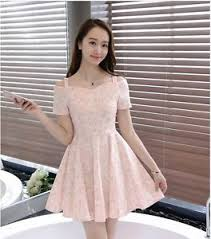 casual dress sweet shoulder floral slim waist korean fashion summer