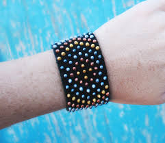 beaded cuff bracelet patterns images Diy faux beaded leather cuff bracelet tutorial jpg