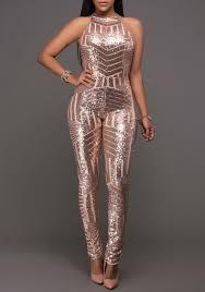 bodysuit jumpsuit chagne geometric sparkly sequin halter neck backless bodysuit