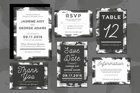 wedding invitation suite monochrome wedding invitation suite by design bundles