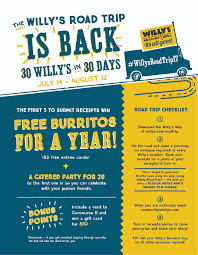 Map Your Road Trip Willy U0027s Road Trip 2017 Willy U0027s Mexicana Grill