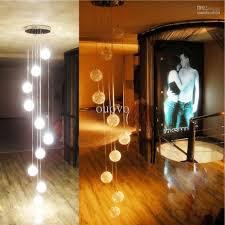 200cm height 10 glass aluminum wire balls stair pendant light