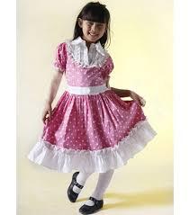 pink dress for girls short pufff sleeve kids dress with