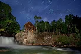 Light Painting Landscape Photography by Star Trails Over Crystal Mill In Colorado Night Photography And
