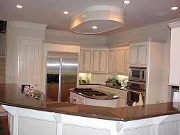 hexagon shaped kitchen island with recessed lighting for elegant