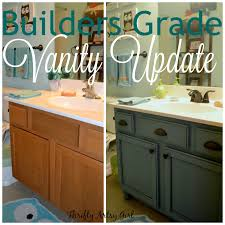 builders grade teal bathroom vanity and faucet upgrade for only