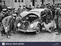 volkswagen beetle trunk in front vw beetle at the pioneer battalion 23 in spandau 1939 stock photo