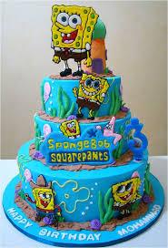 cool blue 2 tiers birthday cake decorating idea with sponge bob