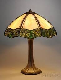 Antique Handel Desk Lamp Original Antique Signed Handel Rambling Rose Curved Leaded Slag