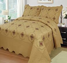 california king quilts and coverlets com marcielo 3 piece fully quilted embroidery quilts
