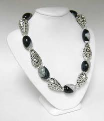 designer handmade jewellery black white agate gemstones and silver necklace handmade